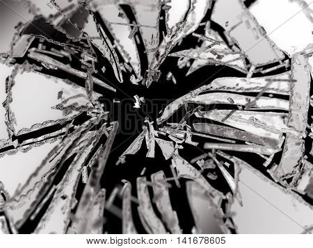 Shattered Or Broken Glass Pieces Isolated On Black