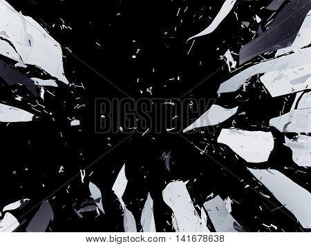 Shattered Or Demolished Glass Over Black