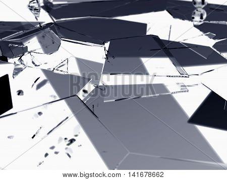 Shattered Or Demolished Glass Over On White