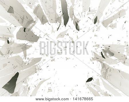 Shattered Or Demolished Glass Over White Background