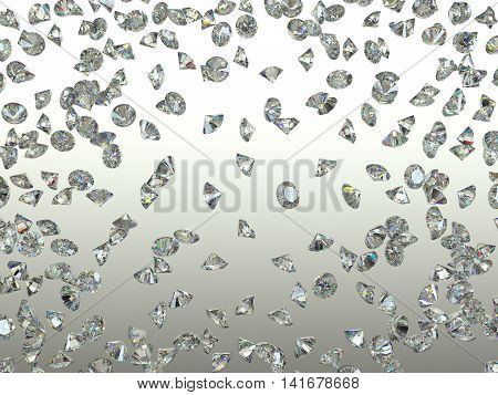 Sparkling Gemstones Scatter And Fly Away Over Gradient