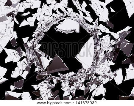 Violence Shattered Glass On Black Background