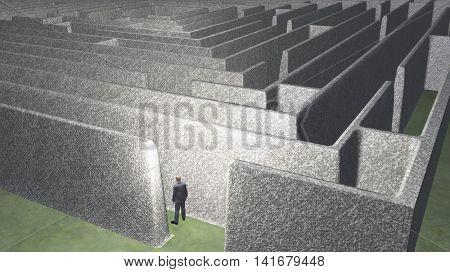 Man and maze 3D Render