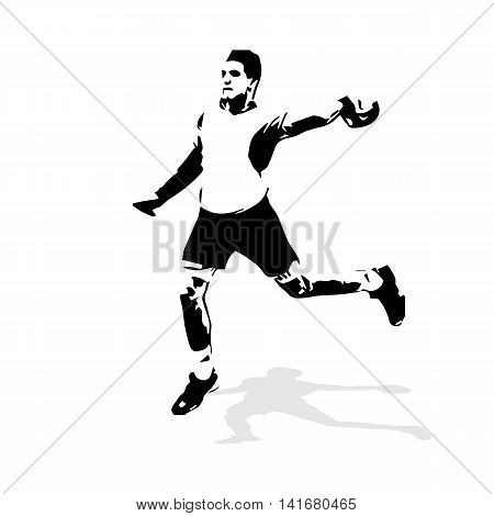 Handball player abstract vector illustration. Team sport handball vector isolated silhouette of shooting handball player
