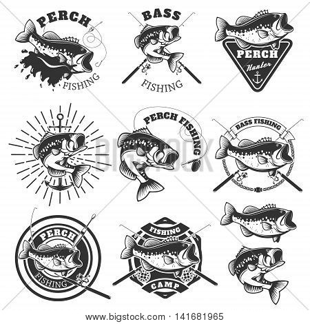 Bass fishing labels. Perch fish. Emblems templates for fishing club. Vector illustration.