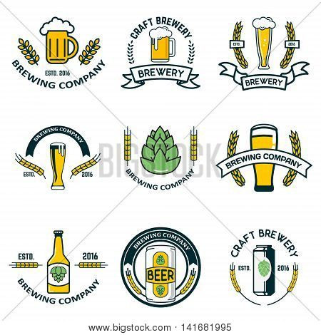 brewery labels and design elements. Beer mugs bottles hop wheat wreath. Design elements for logo label emblem brand mark. Vector illustration.