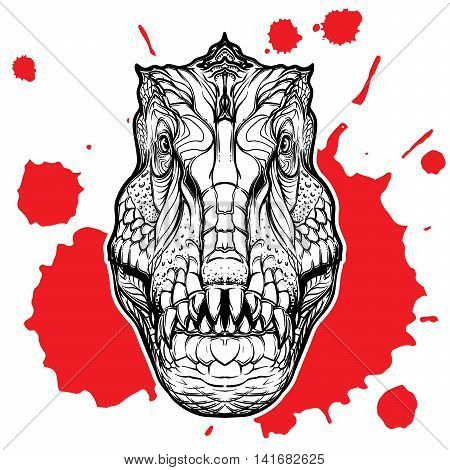 Detailed sketch style drawing of the tirannosaurus rex head isolated on white background with a red blood spot. EPS10 vector illustration.