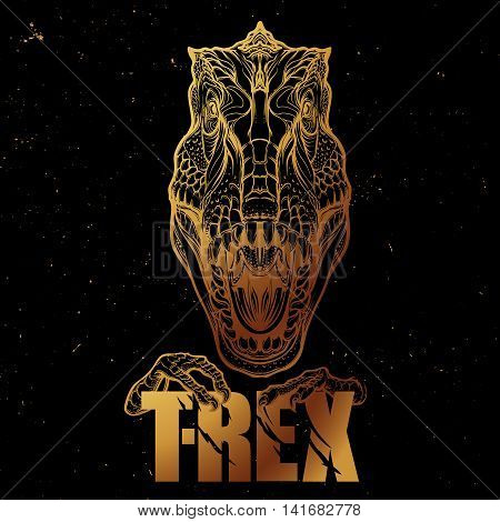 Detailed sketch style drawing of the roaring tirannosaurus rex head. Beast holding T-Rex sign in its claws. Golden outlines on black background. EPS10 vector illustration.