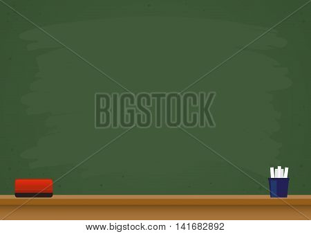 Vector stock of blank green chalkboard with eraser and chalks