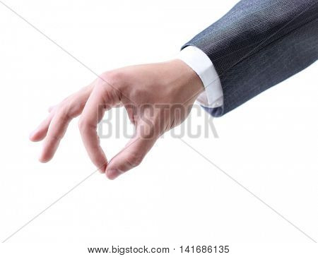 Business man hand holding something isolated on a white backgrou