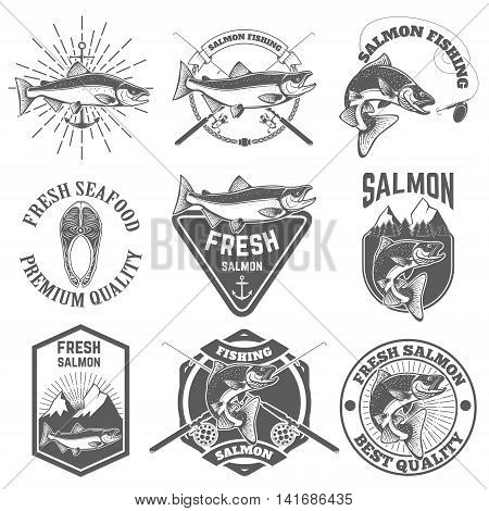 Set of vintage labels with salmon fish. Salmon fishing salmon meat. Design elements for label emblem for fishing club. Vector illustration.