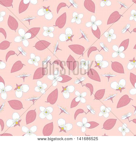 Jasmine seamless pattern. Hand-drawn flowers and leaves. Pink fashion design. The natural background. Vector illustration.