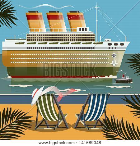 Cruise ship near the shore. Cartoon colorful vector illustration