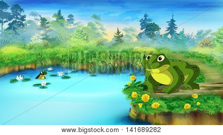 Green Frog Sitting and Croaking Near the Pond in a Summer day. Digital painting cartoon style full color illustration.