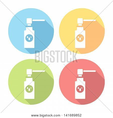 Medical Nose Care Spray Flat Icons Set