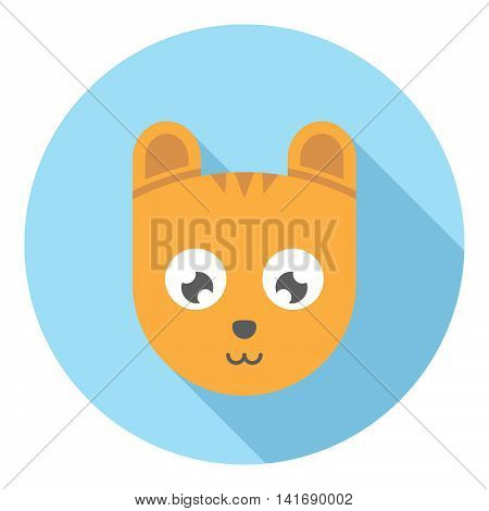 Tiger Cartoon Face Flat Icon