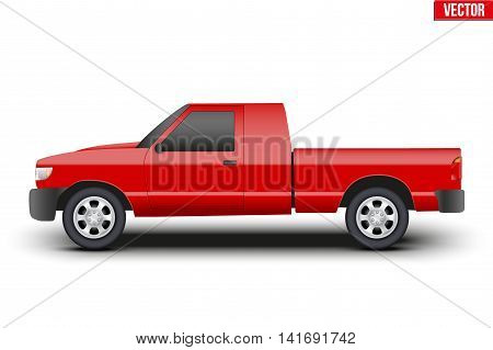 Original classic red. Pickup truck. Business design of cargo transportation and service. Editable Vector illustration Isolated on background.