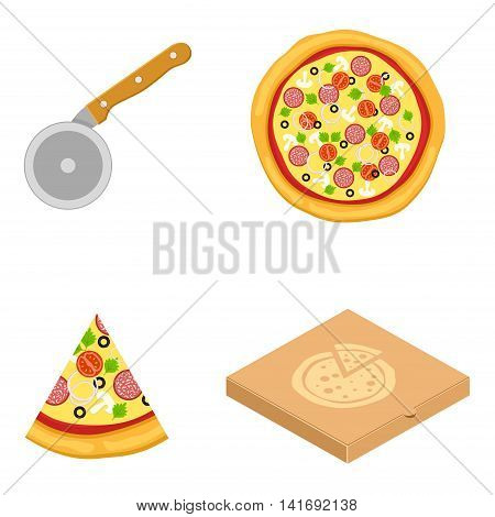 Pizza vector icons food silhouette collection. Cutter knife cooking equipment, pizza slice icon in flat style. Pizza box isolated on white background