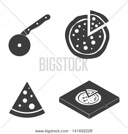 Pizza vector icons food silhouette collection. Cutter knife cooking equipment, pizza slice icon in flat style. Black pizza box isolated on white background
