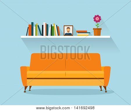 Sofa and fhelf Sofa and fhelf with colorful books. Retro flat style. Modern design interior orange sofa and bookshelves