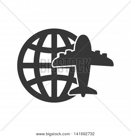 global airplane silhouette travel transporation flying icon. Isolated and flat illustration. Vector graphic