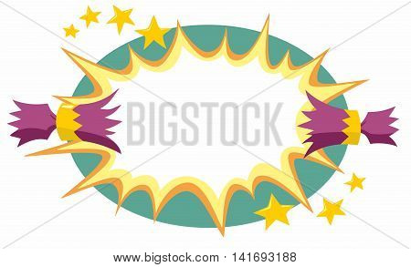 Purple and gold Christmas cracker pulled open with a large cartoon flash and gold stars over a green oval graphic design background resource stylised cartoon vector illustration.