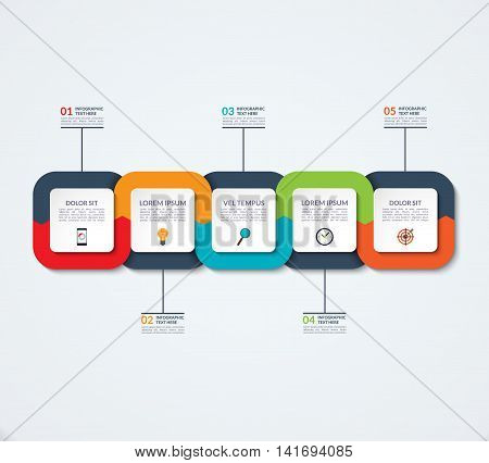 Abstract infographic template. Business concept with 5 options, steps, parts. Vector banner for timeline infographics, workflow layout, diagram chart, annual report, presentation, web design.