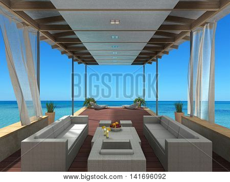 fictitious 3D rendering showing a summer vacation image with a lounge by the sea