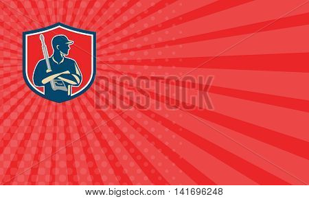 Business card showing illustration of power washer worker with arms crossed holding pressure washing gun looking to the side viewed from front set inside shield crest on red sunburst background done in retro style.