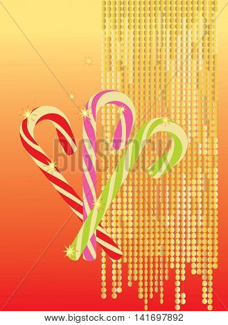 Delicious red, pink and green lollipops on colorful background