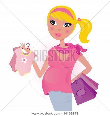 Pregnant mom on shopping for child / baby girl