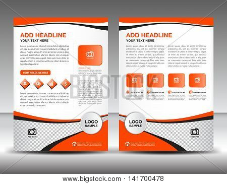Orange business brochure flyer design layout template in A4 size, newsletter, leaflet, vector, cover, annual report , magazine ads. poster, catalog poster