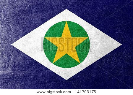Flag Of Mato Grosso State, Brazil, Painted On Leather Texture