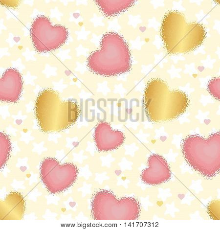 Colored background with blurred hearts and stars