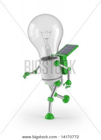 renewable energy - light bulb robot run