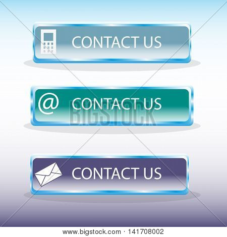 Set of three useful contact buttons on gradient background