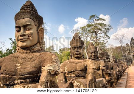 Angkor South Gate Wat temple Siem Reap Cambodia Hinduism Khmer culture buildings