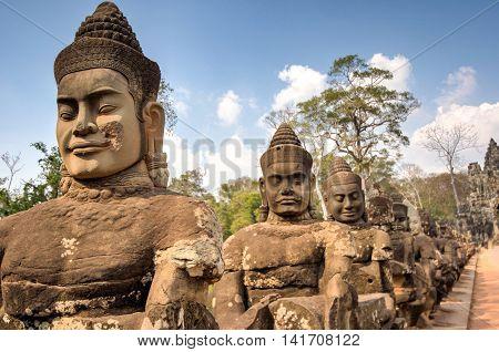 Angkor South Gate Wat temple Siem Reap Cambodia Hinduism Khmer culture buildings