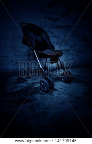 An empty baby stroller in haunted house,Scary background for book cover