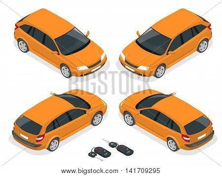 Isometric hatchback and car keys. Vector 3d flat transport. Car hatchback