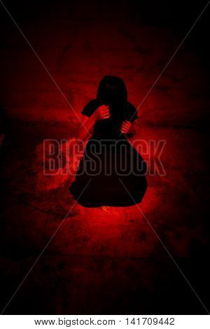 Ghost woman in Haunted House,Scary background for book cover
