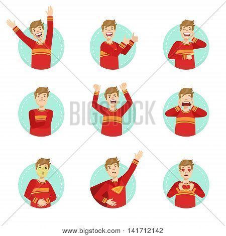 Emotion Body Language Illustration Set With Guy Demonstrating. Set Of Emotional Facial Expressions With Person In Red T-shirt In Blue Round Frame.