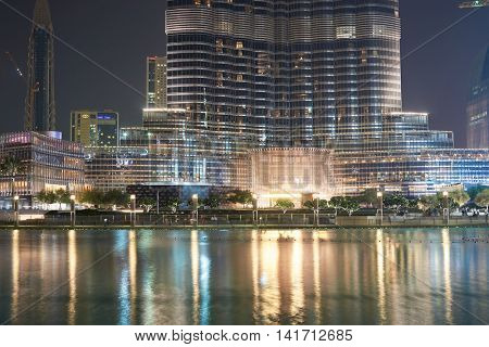 DUBAI, UAE - OCTOBER 15, 2014: view of Burj Khalifa at night. Burj Khalife it the tallest structure in the world