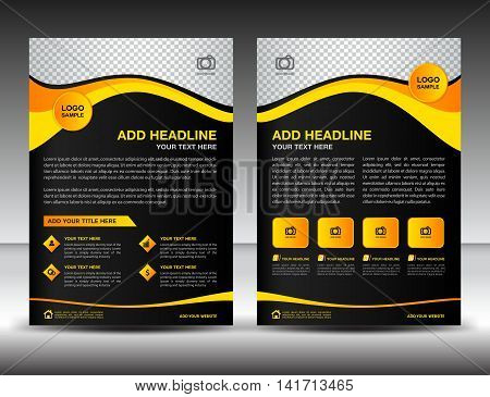 Yellow and black business brochure flyer design layout template in A4 size, newsletter, leaflet, poster, vector, cover ,annual report, magazine ads, catalog,