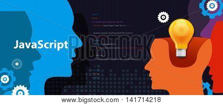 Java script programming language code software development vector