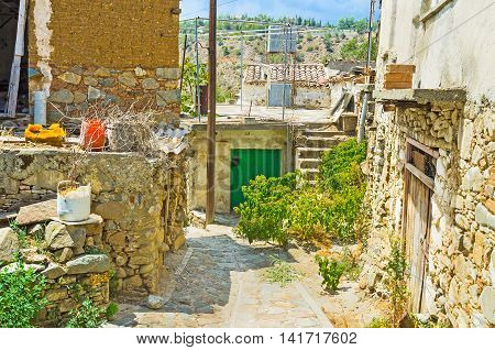 Gourri village boasts presered medieval houses Nicosia district Cyprus.