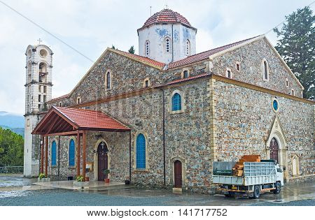 The Panayia Church of Agros was built on the place of the medieval Panagia Eleousa monastery Agros Cyprus.