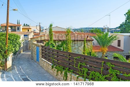 The narrow street of the traditional mountain village of Kato Drys located next to Pano Lefkara in Larnaca Region Cyprus.