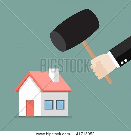 Business man handle a hammer to destroy a house icon. flat style vector illustration