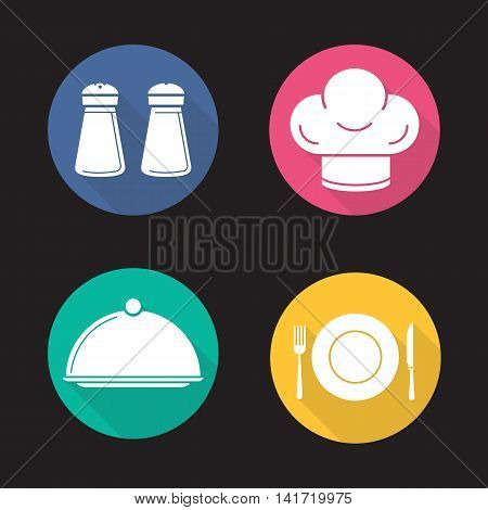 Restaurant kitchen items flat design long shadow icons set. Salt and pepper shakers, chef's hat, covered dish, fork, plate and table knife. Vector symbols